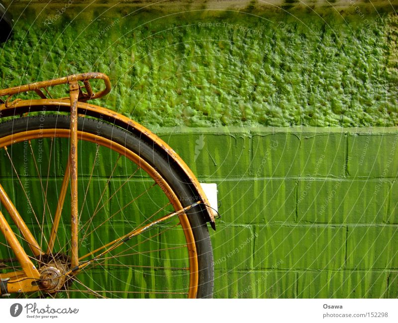 made in gdr Bicycle Wheel Old Tire Orange Green Wall (building) Wall (barrier) Derelict Rust Rear light Extreme sports luggage carrier