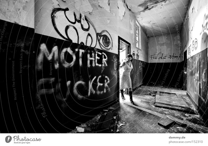 Woman Old Black Loneliness Eroticism Dark Cold Graffiti Lighting Fear Dress Lady Derelict Ruin Panic