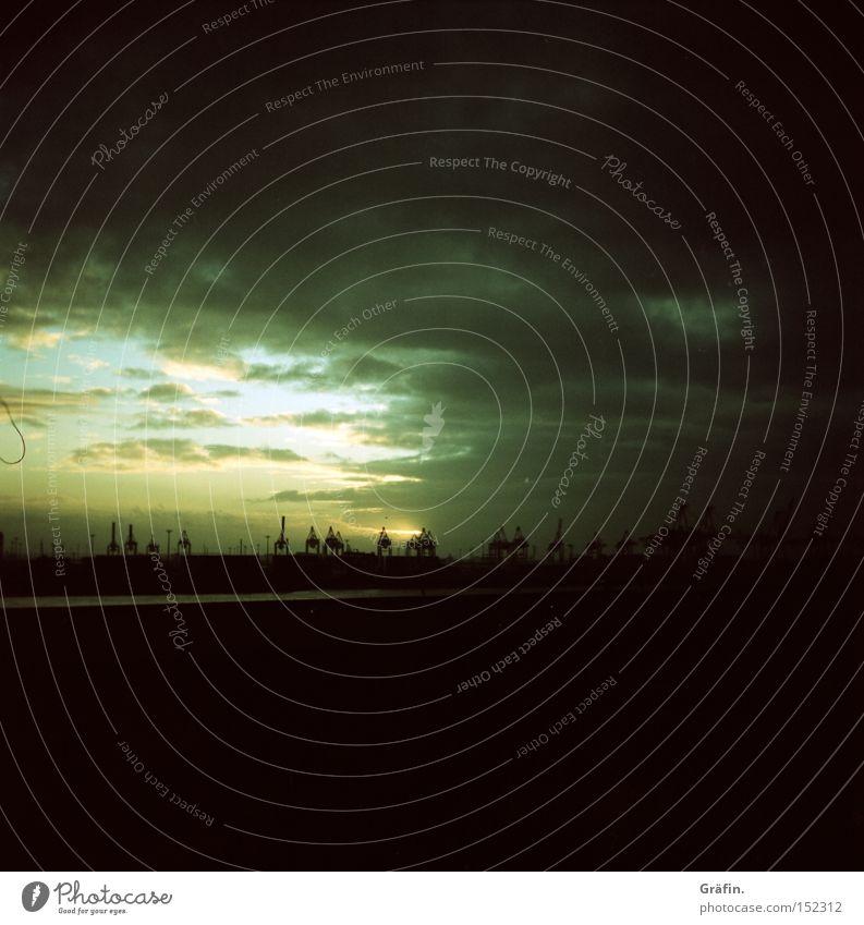 Sun Black Clouds Dark Hamburg Horizon Industry Harbour Crane