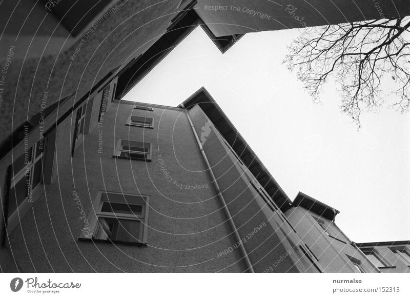 Ekzorzist the last 08 Corner House (Residential Structure) Courtyard Berlin Potsdam Window Backyard Stairs Analog Eaves Roof Sky Symmetry Looking Gloomy Story