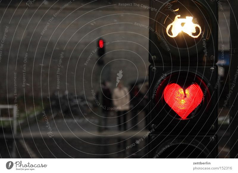 Feast of Love Heart Red Wait Longing Romance Light Traffic light Bicycle Street Pedestrian Evening Twilight Dark Spring fever Traffic infrastructure Street sign