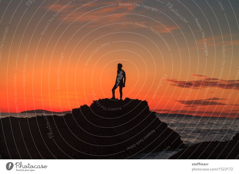 Silhouette of a man at sunset on a rock Human being Youth (Young adults) Blue Water Ocean Young man Red Black Yellow Sadness Coast Healthy Think Stone Pink