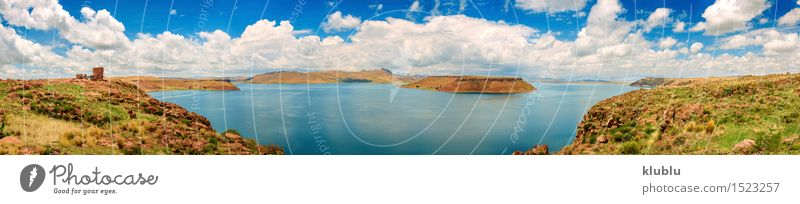 Chullpas of Sillustani and a lake, Peru Nature Vacation & Travel Old Blue Landscape Mountain Religion and faith Lake Stone Rock Island Historic Mysterious Hill Beauty Photography Society