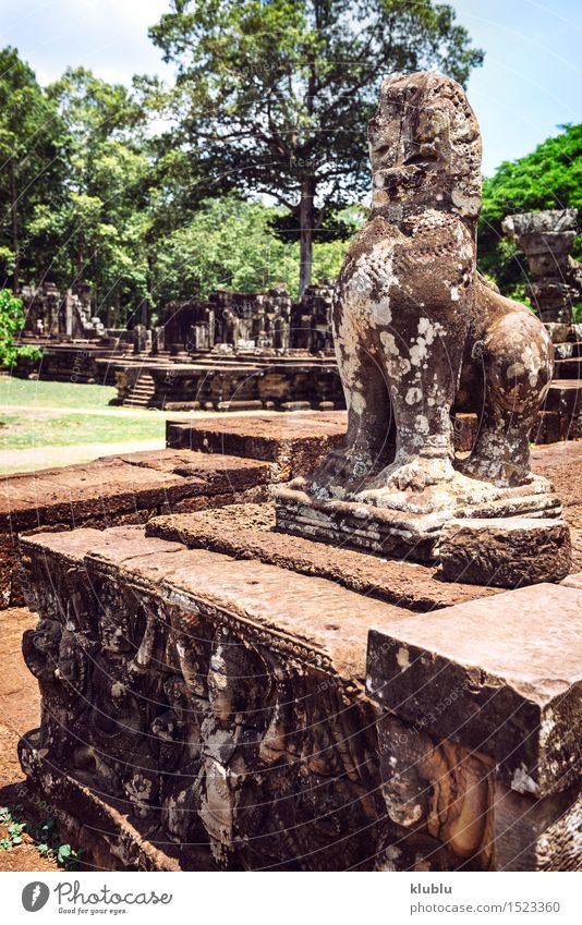 Angkor Thom Temple view, Siem reap, Cambodia Vacation & Travel Old Face Architecture Religion and faith Building Stone Rock Tourism Historic Asia Monument Society Virgin forest Ruin Ancient