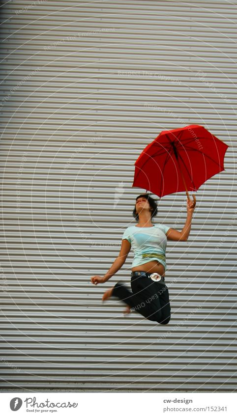 Human being Woman Youth (Young adults) Beautiful Red Summer Joy Playing Jump Esthetic Umbrella Lady Sunshade Protection