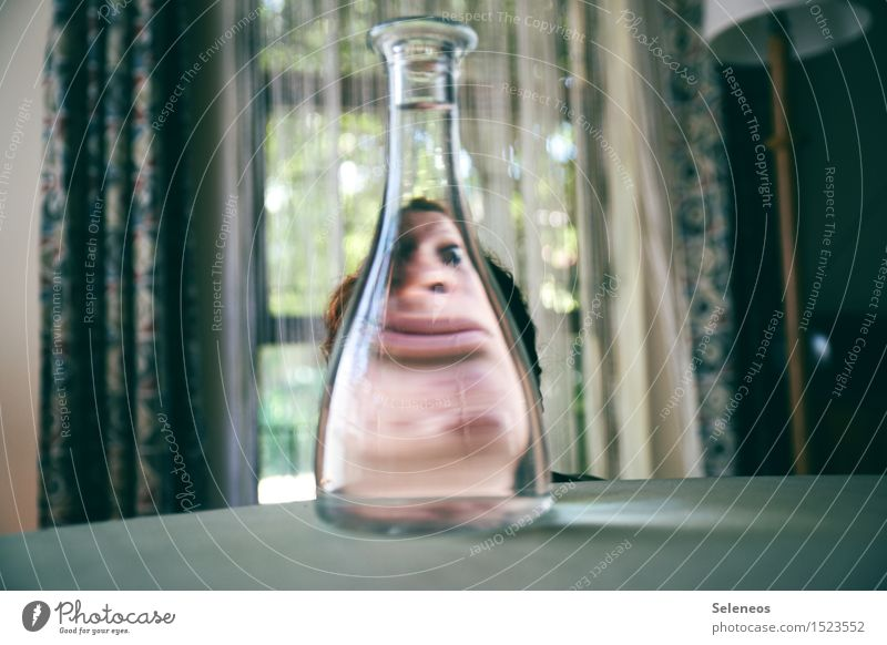 The view through the bottle Drinking Alcoholic drinks Spirits Human being Face 1 Boredom Healthy Alcohol-fueled Bottle Neck of a bottle Colour photo