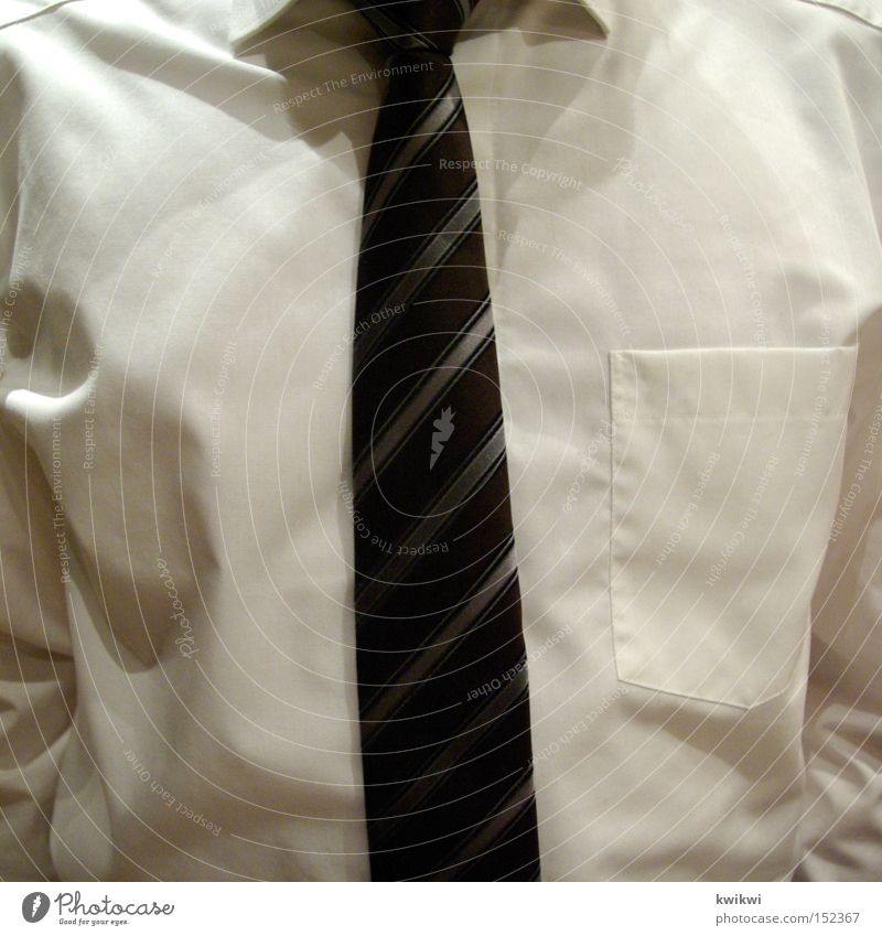 Man White Elegant Stripe Shirt Chest Bag Tie Chic Collar Human being