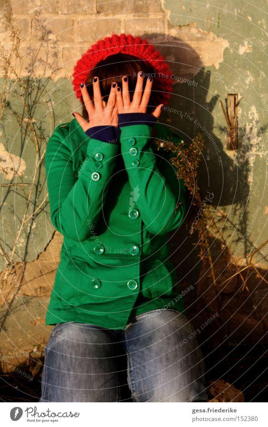 Woman Human being Hand Joy Face Fingers Hide Childlike