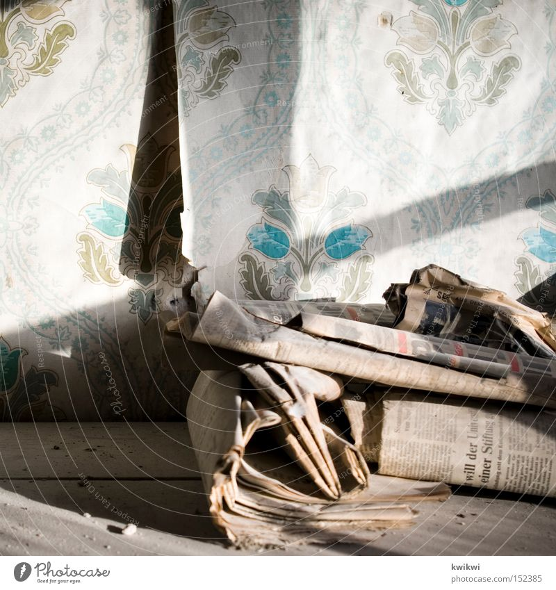 Back then Dust Old Newspaper Wallpaper Dirty Yellowed Shadow Transience