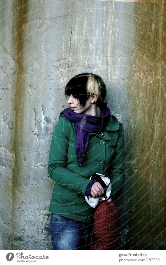 Woman Human being Loneliness Colour Dark Sadness Dye Wall (barrier) Dirty Going Grief Gloomy Distress Devastated