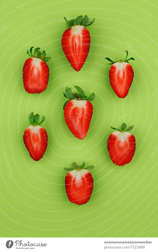 Green Healthy Eating Red Lifestyle Food Design Decoration Esthetic Delicious Organic produce Division Vegetarian diet Diet Symmetry Half Strawberry