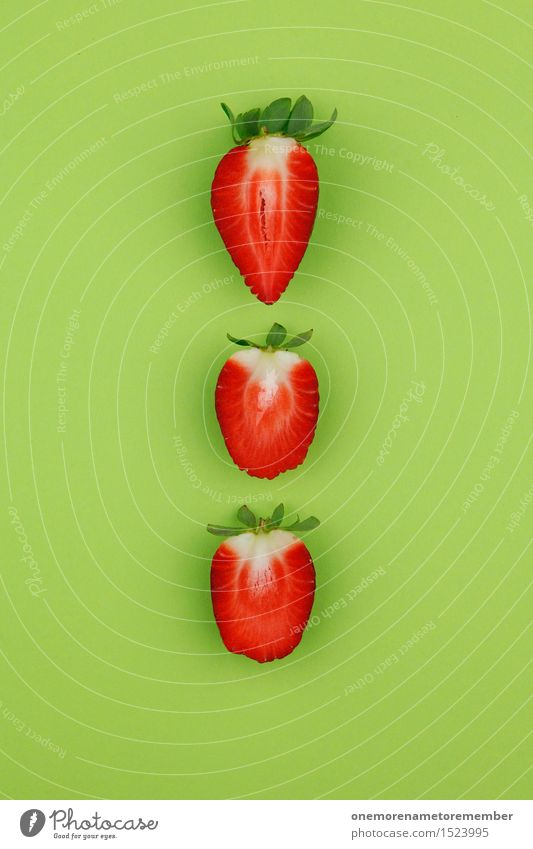 Strawberry triad on green Art Work of art Esthetic Strawberry shake Strawberry yoghurt Strawberry jam Strawberry variety Strawberry ice cream Red Green