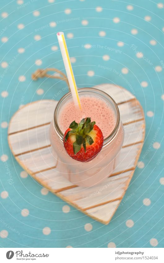 Homemade Strawberry Milkshake with Straw Summer Cold Healthy Lifestyle Fruit Fresh Glass Nutrition Energy Beverage Sweet Drinking Breakfast Refreshment Bottle