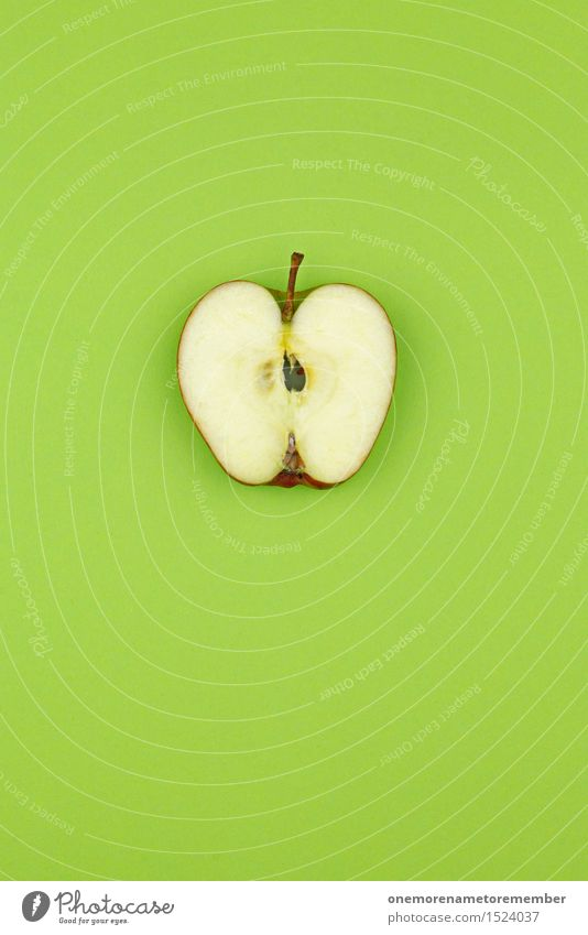Apple slice on a green area Lifestyle Design Healthy Eating Fitness Well-being Art Work of art Esthetic Green Green space Green undertone Grass green Gaudy