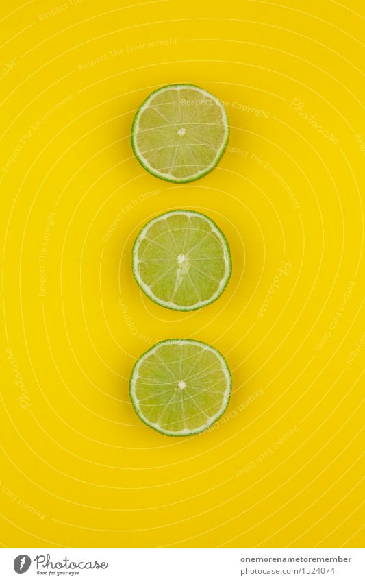 Three Caipi Art Work of art Esthetic 3 Lime Slices of lime Yellow Delicious Caipirinha Vitamin-rich Vitamin C Sour Decoration Pattern Symmetry Design Green