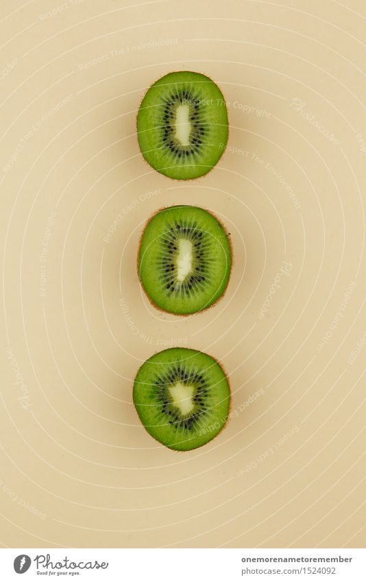Kiwi Trio II Art Work of art Esthetic Kiwifruit Division Green Beige Healthy Eating 3 Symmetry Geometry Row Tropical fruits Delicious Decoration Colour photo
