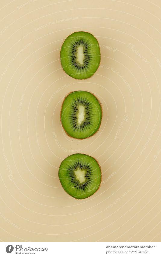 Kiwi Trio II Art Work of art Esthetic Kiwifruit Division Green Beige Healthy Eating 3 Symmetry Geometry Row Tropical fruits Delicious Decoration Colour photo