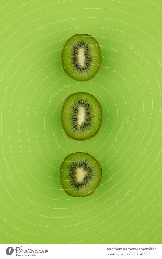 Kiwi threesomes... Zack! Art Work of art Esthetic Kiwifruit Fruit Tropical fruits 3 Green Row Symmetry Delicious Vitamin-rich Grass green Colour photo