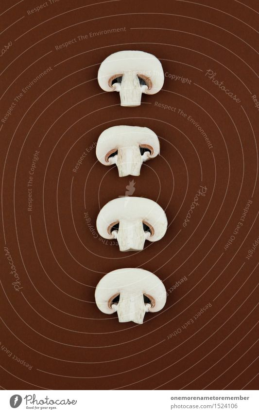 Food photograph Art Brown Design Decoration Esthetic Graphic Row Mushroom Work of art Symmetry Fashioned Button mushroom