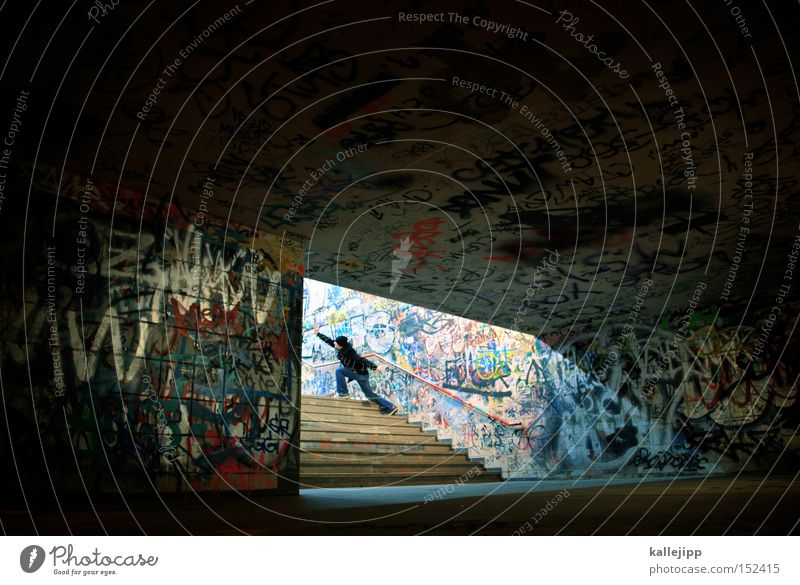Human being Man Graffiti Stairs Culture Tunnel Entrance Direction Upward Train station Indicate Way out Opening Vandalism