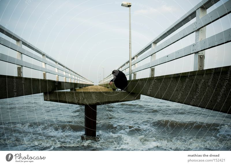 Water Sky Ocean Beach Black Loneliness Dark Waves Free Grief Bridge Stand Lantern Distress Fence