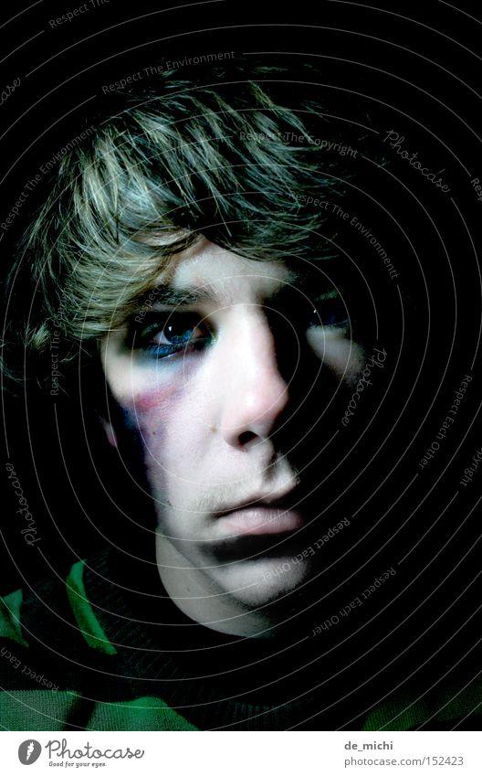 Blue Green Black Dark Sadness Grief Evil Distress Self portrait Hematoma Black eye Greeny-black