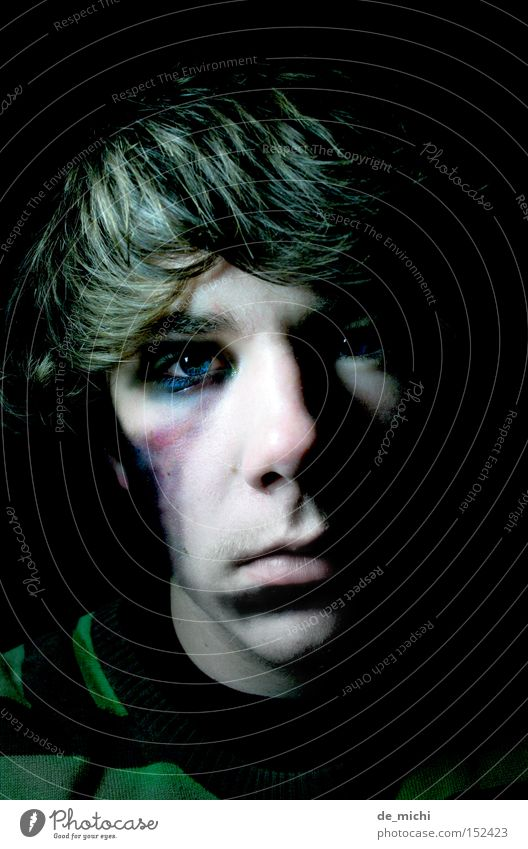 DARK Dark Evil Grief Black Green Blue Hematoma Greeny-black Shadow Portrait photograph Self portrait Low-key Distress Sadness Black eye Wound