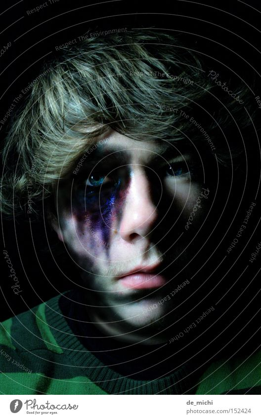 Blue Green Black Dark Sadness Grief Evil Distress Self portrait Hematoma Black eye Greeny-black