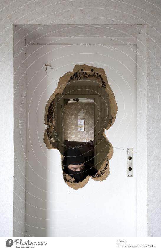 Man Calm Fear Door Broken Mask Concentrate Force Panic Thief Caution Fellow Criminality Figure of speech Arise