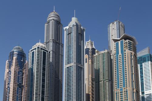 Skyscrapers Dubai Marina City Architecture Building Modern High-rise Skyline Luxury Height Yacht harbour United Arab Emirates