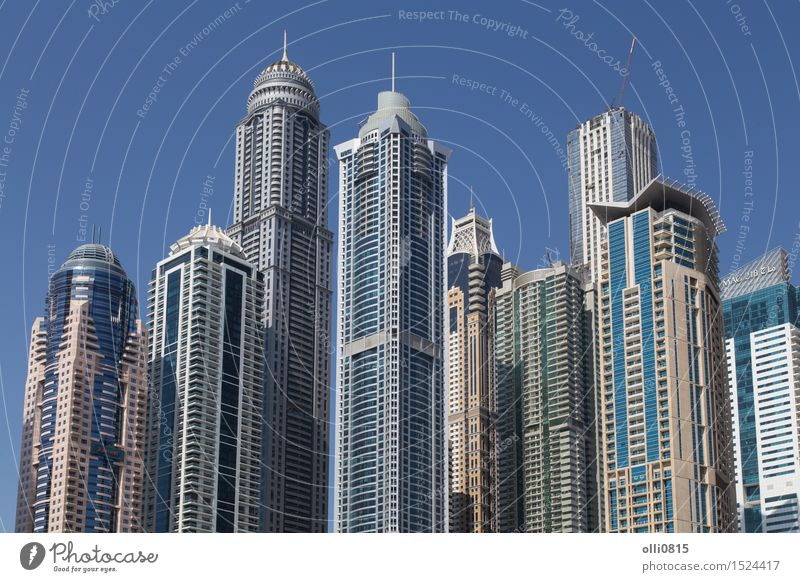 Skyscrapers Dubai Marina Luxury Town Skyline High-rise Building Architecture Yacht harbour Modern Travel locations United Arab Emirates Urban skyline