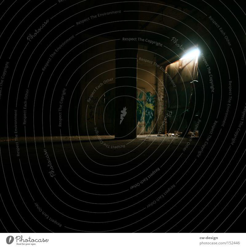 Human being Loneliness Lamp Dark Graffiti Fear Dangerous Threat Derelict Boredom Pole Fellow Highway ramp (entrance) Light Flare Cone of light