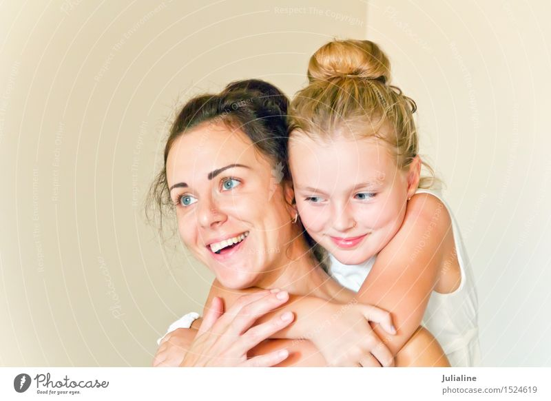 Mother and daughter in white Child Schoolchild Girl Woman Adults Parents Family & Relations Infancy 2 Human being 8 - 13 years 18 - 30 years