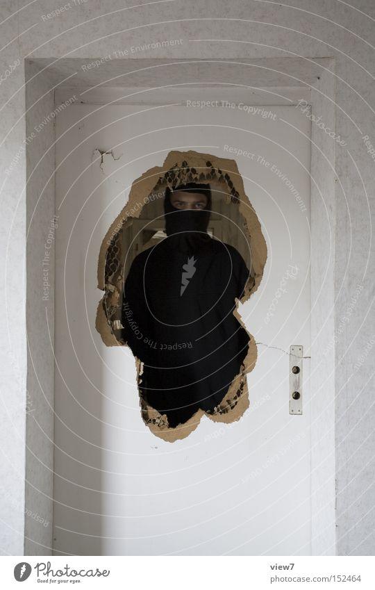 Human being Man Calm Black Adults Door Fear Masculine Broken Change Threat Mask Force Whimsical Make Hollow