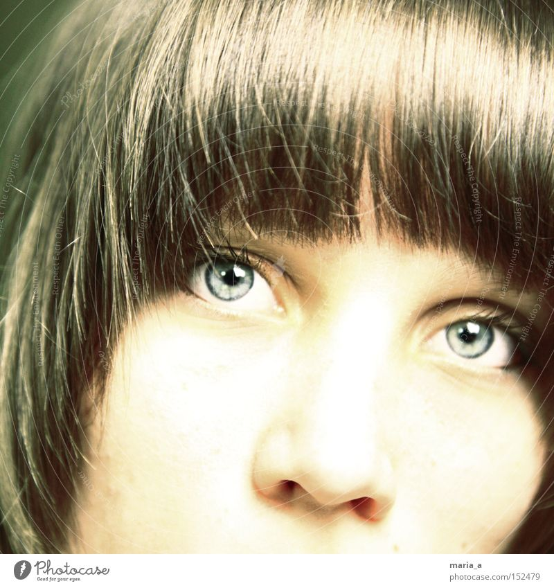 Woman Blue Eyes Hair and hairstyles Think Bright Concentrate Self portrait Snapshot Iris Dominant Face