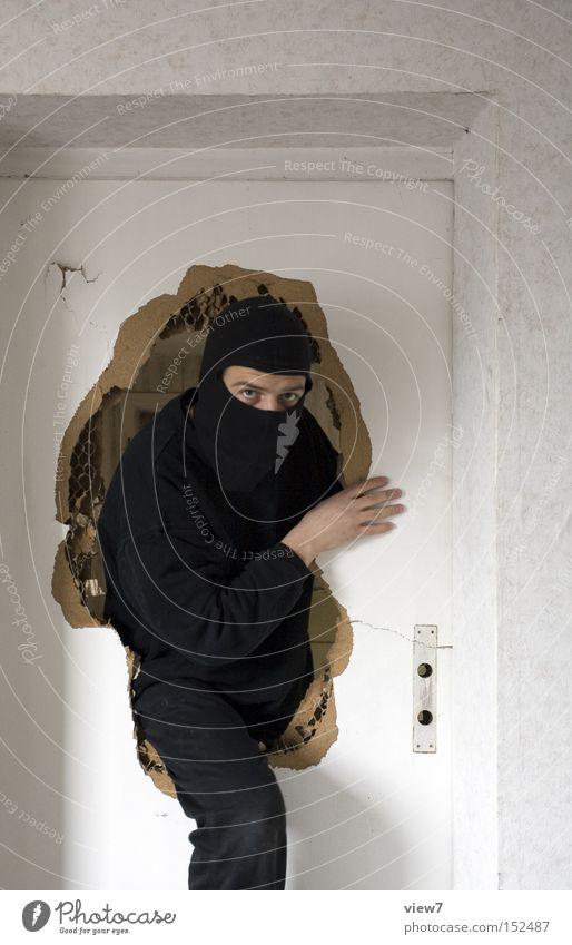 Man Calm Fear Door Criminal Broken Mask Force Panic Thief Caution Criminality Break-in Alarm Arise