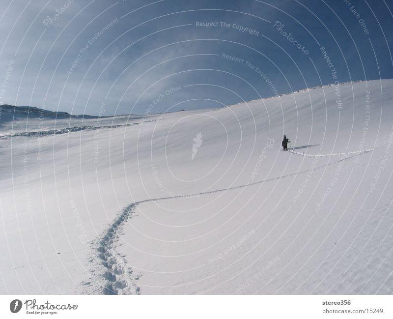 We clear the way Ski tour Mountain hiking snowshoeing Alps Snow mountain idyll