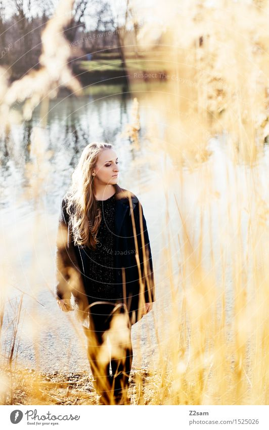 Youth (Young adults) Beautiful Young woman Sun Landscape 18 - 30 years Adults Autumn Natural Feminine Lifestyle Laughter Think Lake Dream Elegant