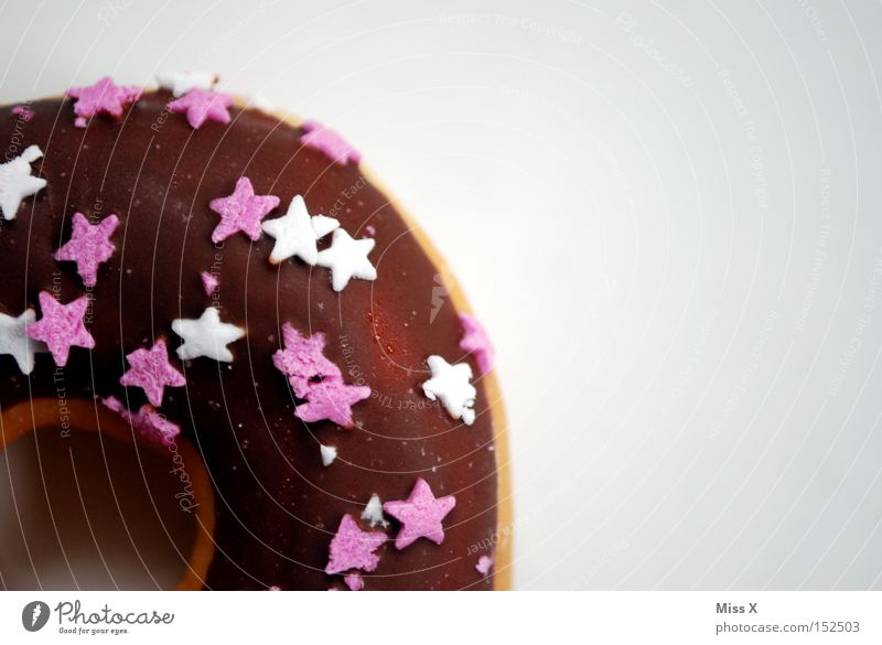 White Brown Pink Nutrition Star (Symbol) Sweet Appetite Delicious Cake Hollow Chocolate Baked goods Donut Rich in calories
