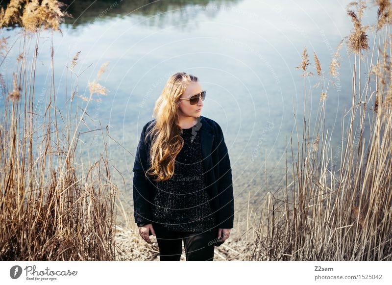 Nature Youth (Young adults) Beautiful Young woman Landscape 18 - 30 years Adults Autumn Natural Feminine Style Lifestyle Fashion Lake Dream Elegant