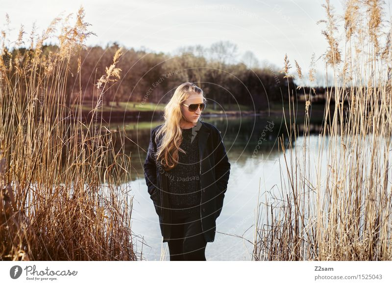 Youth (Young adults) Beautiful Young woman Sun Relaxation Landscape Calm 18 - 30 years Adults Sadness Spring Natural Style Lifestyle Fashion Lake