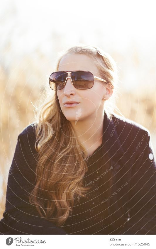 Sun, I like Elegant Style Beautiful Feminine Young woman Youth (Young adults) 18 - 30 years Adults Environment Landscape Autumn Beautiful weather Fashion Coat