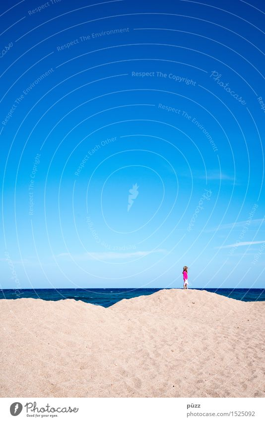Human being Child Sky Nature Vacation & Travel Blue Summer Water Ocean Loneliness Far-off places Girl Beach Freedom Sand Pink