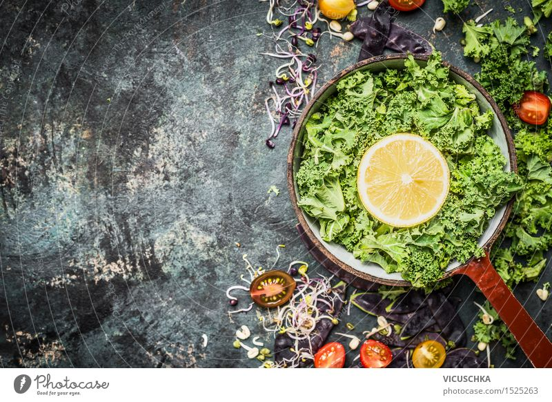 Fresh green cabbage with lemon and ingredients Food Vegetable Herbs and spices Nutrition Dinner Organic produce Vegetarian diet Diet Crockery Pot Style Design