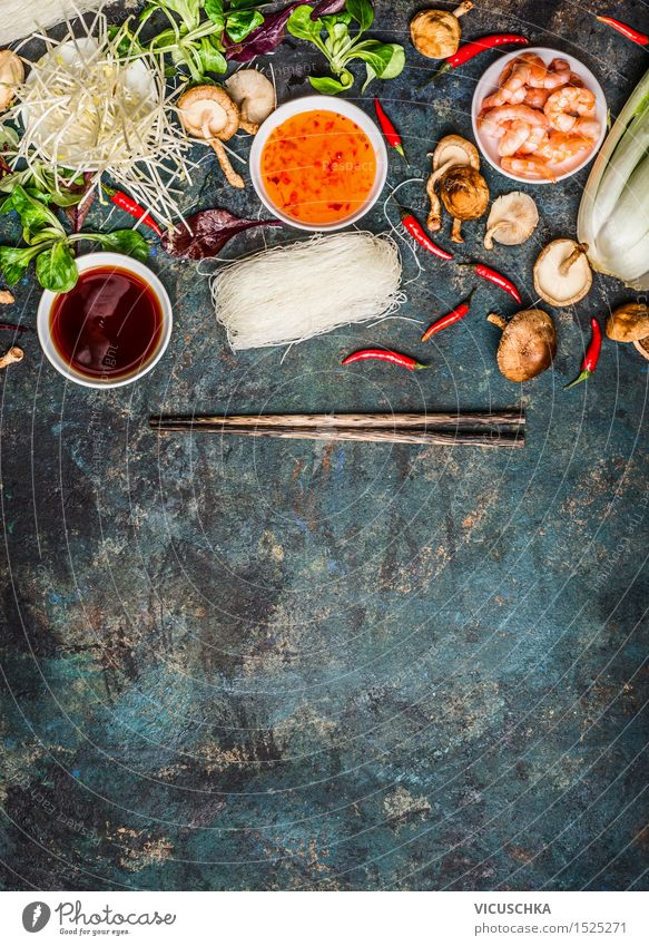 Asian cooking ingredients and sauces with chopsticks Food Seafood Vegetable Lettuce Salad Herbs and spices Cooking oil Lunch Dinner Buffet Brunch Banquet