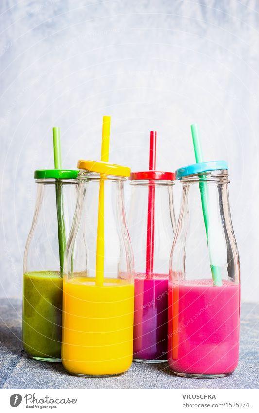 Vitamin smoothie in bottles with straws Food Vegetable Fruit Apple Orange Breakfast Organic produce Vegetarian diet Diet Beverage Cold drink Juice Longdrink
