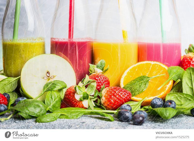 Smoothies with ingredients selection Fruit Apple Orange Nutrition Breakfast Organic produce Vegetarian diet Diet Beverage Cold drink Lemonade Juice Longdrink