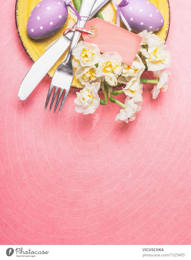 Easter table setting with daffodils and eggs Banquet Style Design Flat (apartment) Decoration Table Event Restaurant Feasts & Celebrations Blossoming Yellow