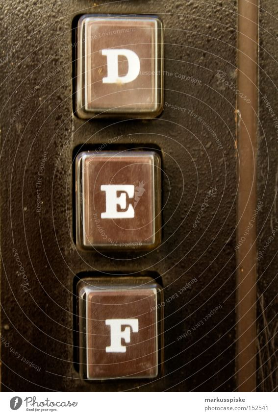 D.E.F. Letters (alphabet) Characters Typography Brown Retro Vending machine Housing Industry Touch