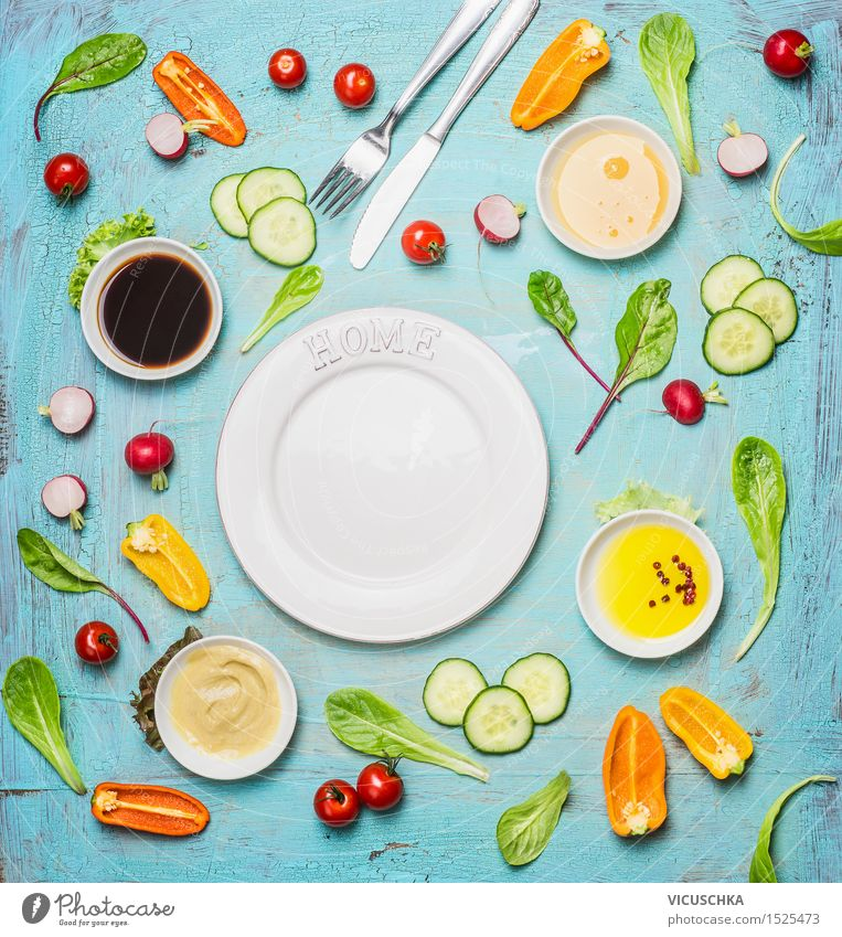 Delicious salad and dressing ingredients to empty white plate Food Vegetable Lettuce Salad Herbs and spices Cooking oil Nutrition Lunch Buffet Brunch